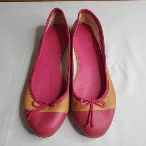 J. Crew women's ballet flats, pink orange